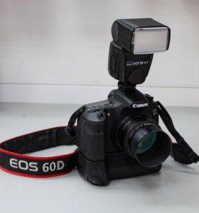 Canon EOS 60D + объективы + вспышка