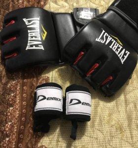 Перчатки тренировочные MMA шингарты+подарок бинты
