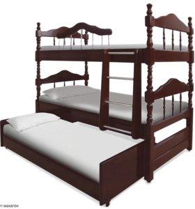 Кровать из массива для троих детей