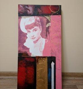 Эксклюзивный постер на холсте Одри Хепбёрн