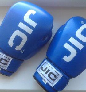 Кожаные синие боксёрские перчатки JIC, 10 унций