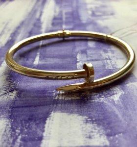 Золотой браслет в стиле Cartier