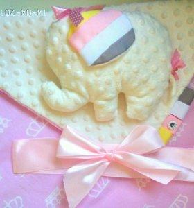 Детский плед-конверт и подушка-игрушка