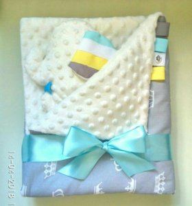 Детский комплект (плед-конверт + подушка-игрушка)