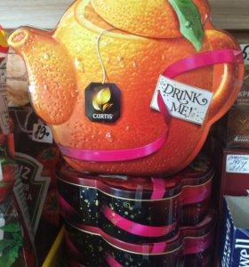 Чай жестяная коробка подарочная Куртис, продукты