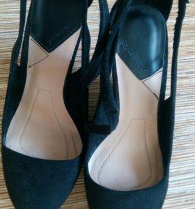 Туфли на платформе замша черные