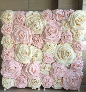Воздушные шары,ткань и стена из цветов на свадьбу!