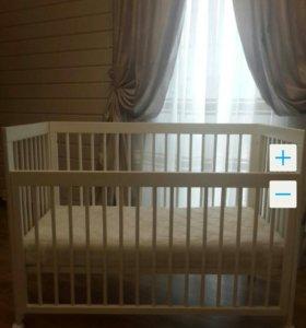 Кроватка детская, матрас и комплект в кроватку