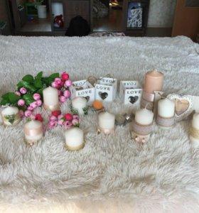 Свечи украшенные для оформления