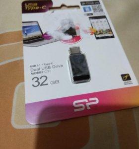 Гибридная USB-Type-C флешка 32 гб Новая