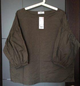 Блуза  Uniqlo куплена в Японии 3/4 рукав фонарик