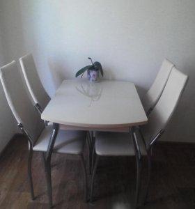 Стол обеденный раздвигающийся.1.10*70 и стулья