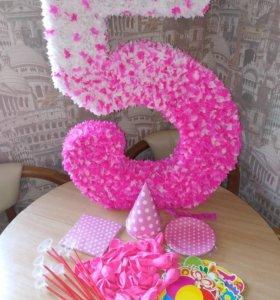 Цифра 5 шары набор принцессы на день рождения