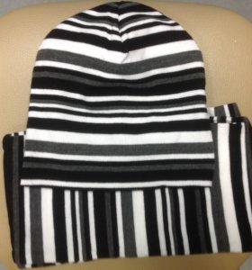 Шапка+шарф новые