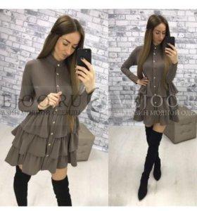 Платье светло-коричневое, трикотажное