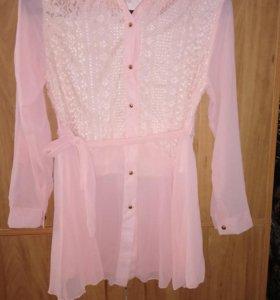 Блуза удлинённая с пояком