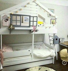 Детская двухъярусная кровать массив дерева