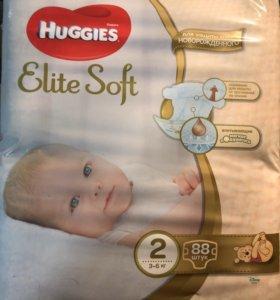 Huggies Подгузники Elite Soft 3-6 кг (2) 88 шт.