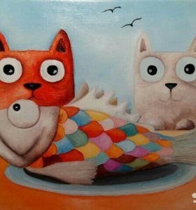 """Картина на холсте """" Котята с рыбкой"""""""