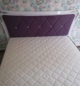 Кровать Аделина (Белый глянец /серебро)