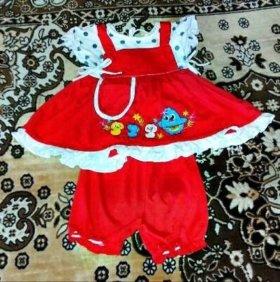 Костюмчик на девочку 1-2 лет ( платье + бриджики )