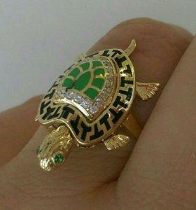Кольцо черепаха серебро 925