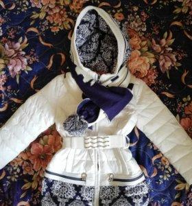 Куртка+шарф для девочки отличное состояние демисез