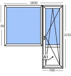 Балконный блок (дверь + окно)
