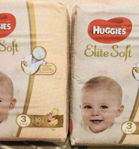 80шт. Подгузники Huggies Elite Soft 3
