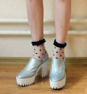 Голографические туфли ботильоны stella mccartney