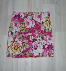 🌷Новая красивая мини юбка с пионами