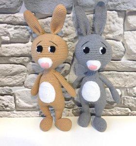 Зайчик, игрушка для ребёнка, вязаная игрушка