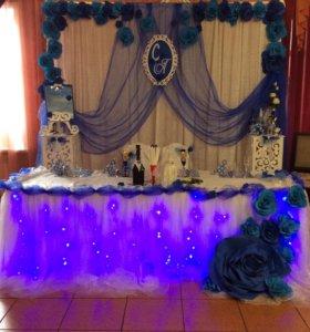 Свадебное оформление в синем цвете