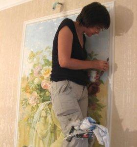 Роспись стен, витраж, портреты по фото