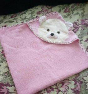 Полотенце детское с уголком для головы.