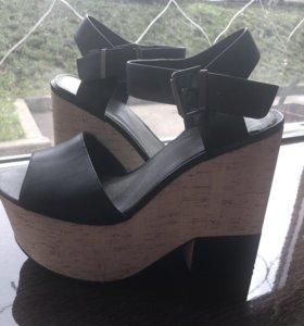 Туфли платформа черно-белые, кожа