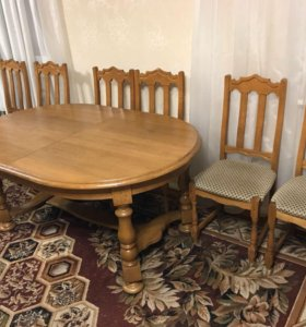 Стол обеденный дубовый + 6 стульев
