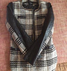 Пальто Вязоное с рукавами из кожи зама