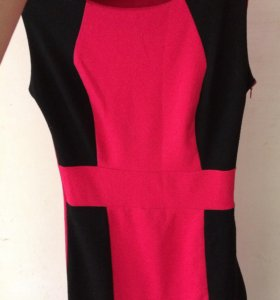 Розово-чёрное платье