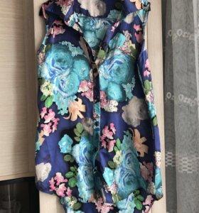 Шелковая блузка без рукавов42-44
