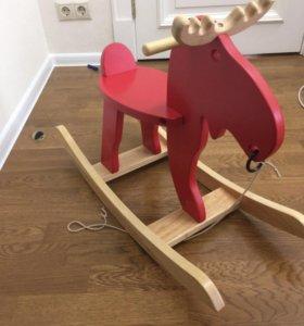 Качалка деревянная икея лось