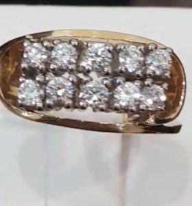 Золотое кольцо с бриллиантами 750 пр