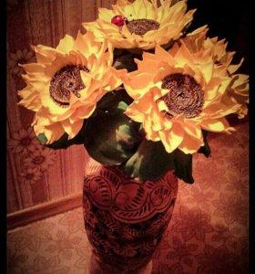 Интерьерные цветы из фоамирана.