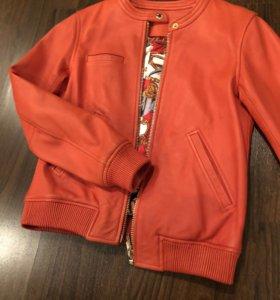 Куртка кожаная, оранжевая