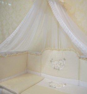 Бортики и балдахин, комплект постельного белья