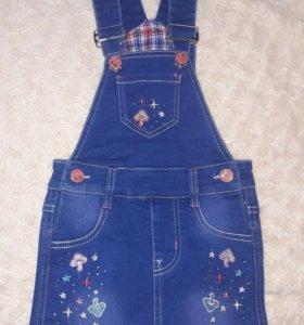 Новый джинсовый комбинезон-юбка