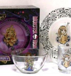 Детский набор посуды Monster High 3 пред. стекло