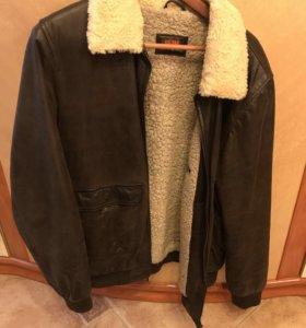 Тёплая куртка из натуральной кожи