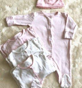 Комплект пижамок 4 шт с рождения до 3 месяцев