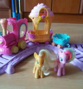 Железная дорога my little pony и 2 пони